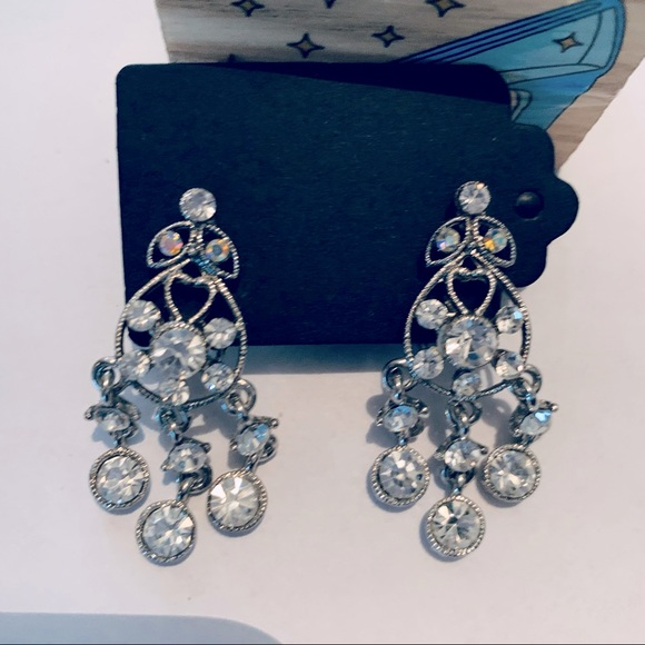 Vintage Sparkly Statement Silver Drop Earrings